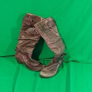Pikolinos 9 brown mid calf buckle zip boot heel
